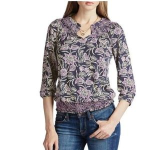 Lucky brand size medium floral print navy/purple